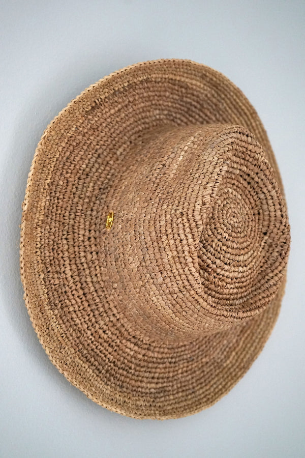 Hat made from raffia - Panama style - beige