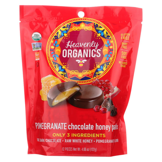 Heavenly Organics Organic Honey Patties Chocolate - Pomegranate - Case Of 6 - 4.66 Oz.