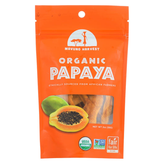 Mavuno Harvest - Organic Dried Fruit - Dried Papaya - Case Of 6 - 2 Oz.
