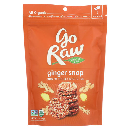 Go Raw - Organic Sprouted Cookies - Ginger Snap - Case Of 12 - 3 Oz.