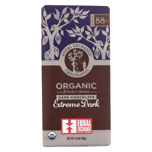 Equal Exchange Organic Chocolate Bar - Extreme Dark - Case Of 12 - 2.8 Oz.