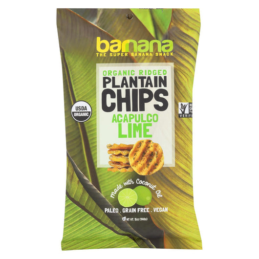 Barnana Plantain Chips - Lime - Case Of 8 - 5 Oz.