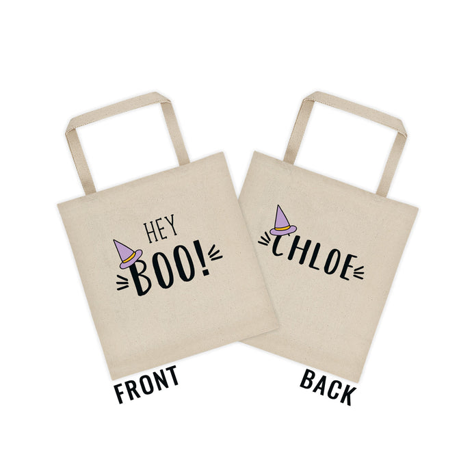 Hey Boo! Personalized Halloween Canvas Tote bag - North Jems