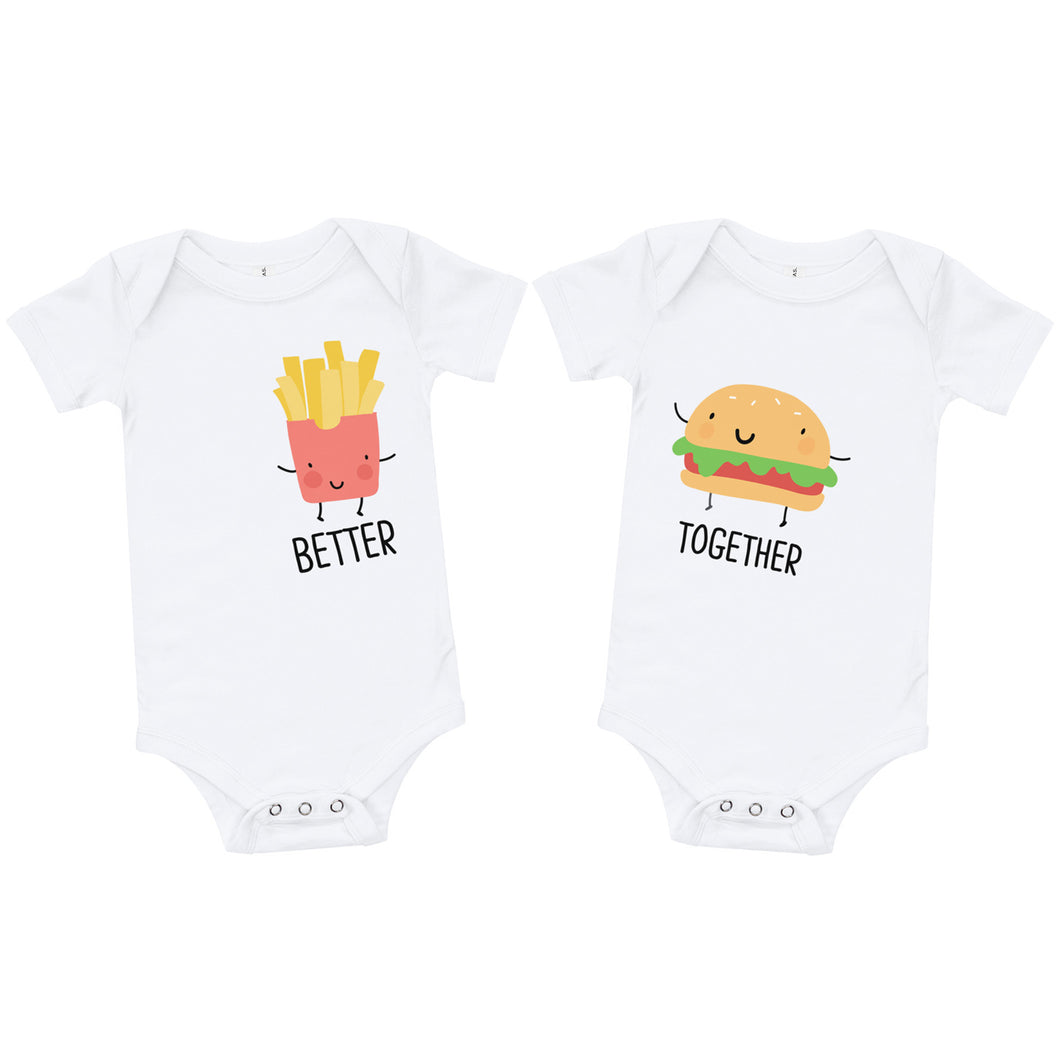 Better Together Burger and Fries Baby Onesie / T-shirt - North Jems