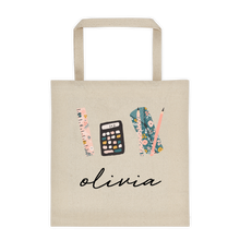 Load image into Gallery viewer, School Supplies Personalized Canvas Tote Bag - North Jems