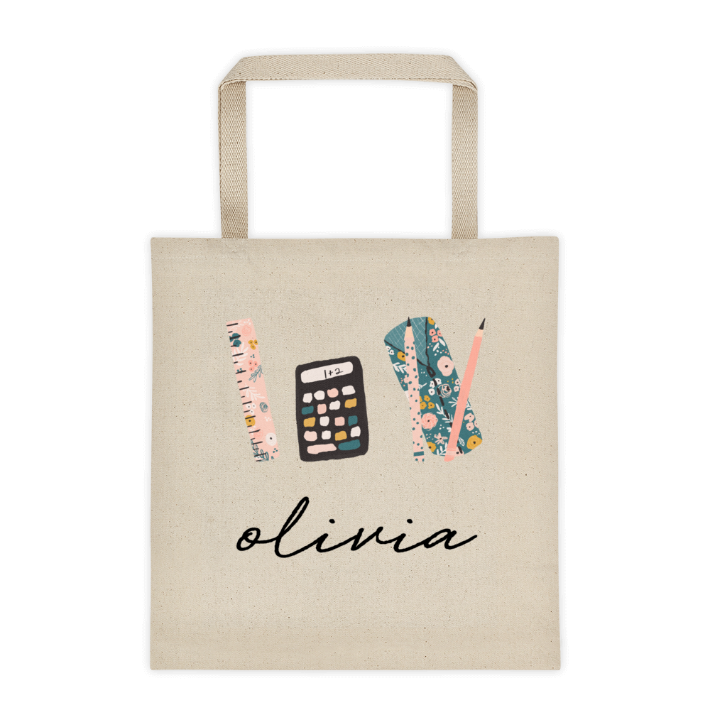 School Supplies Personalized Canvas Tote Bag
