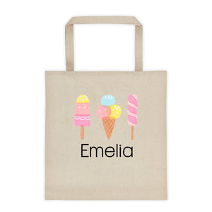 Ice Cream Personalized Canvas Tote Bag - North Jems