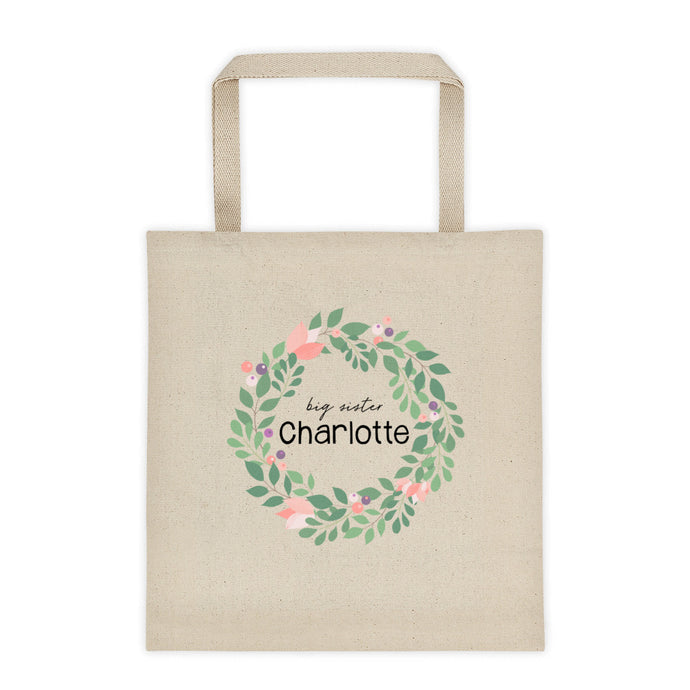 Big Sister Berry Flower Wreath Personalized Canvas Tote Bag - North Jems