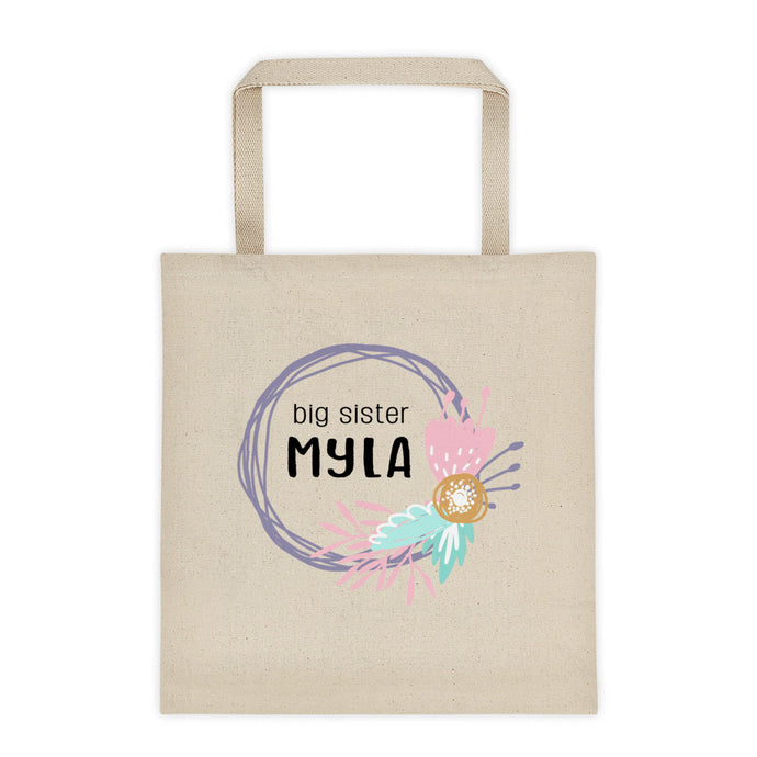 Big Sister Flower Wreath Personalized Canvas Tote Bag - North Jems