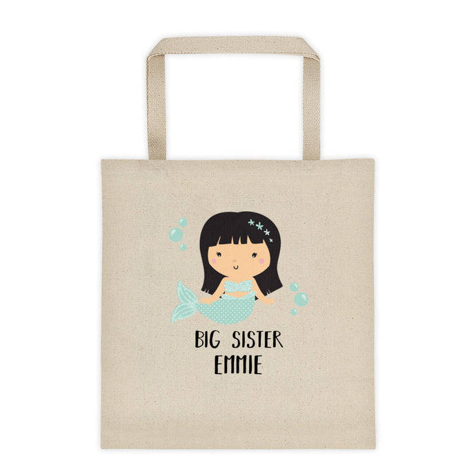 Big Sister Mermaid Personalized Canvas Tote Bag - North Jems