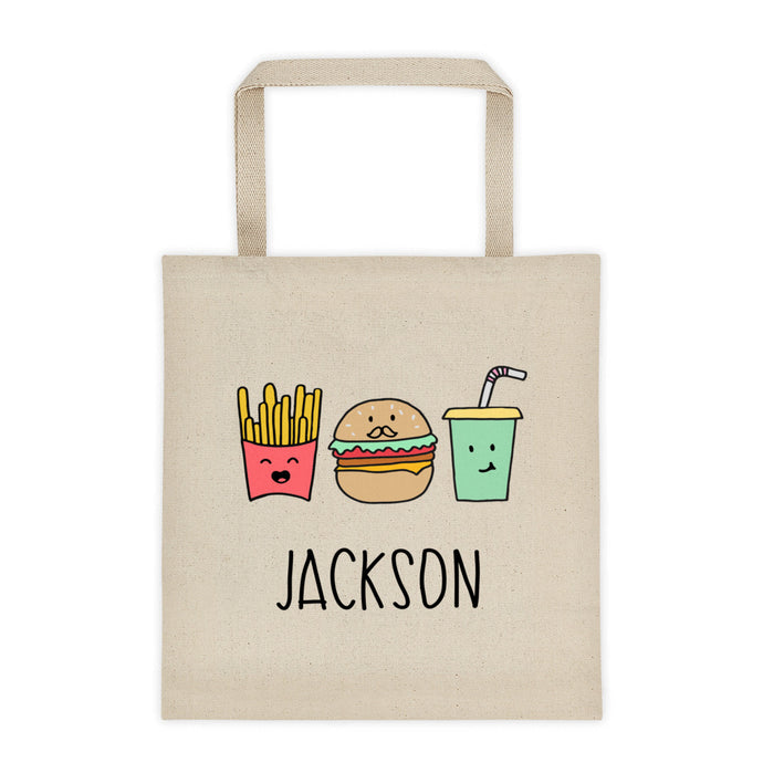 Burger Fries Drink Personalized Tote Bag - North Jems