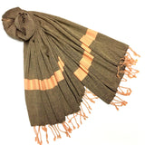 Tangerine & black cotton shawl - surfaced