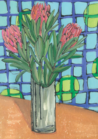 Pink Proteas Artwork by Julia Raath - surfaced
