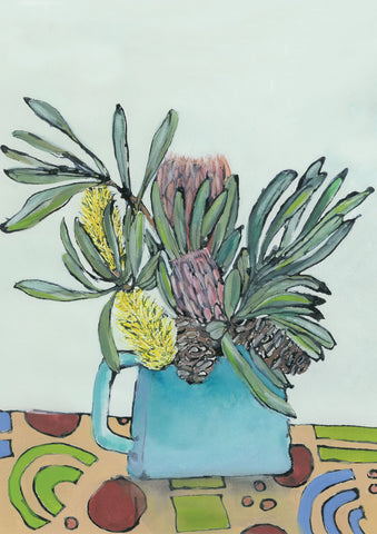 Bottle Brush and Protea Print by Julia Raath - surfaced
