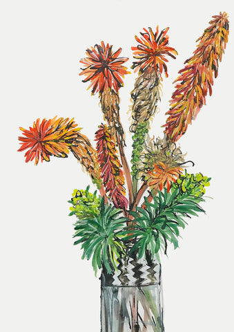 Red Hot Pokers or Torch Lillies Print by Julia Raath - surfaced