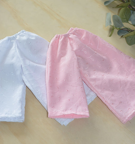 Long Sleeve Smock Top - White, Pink