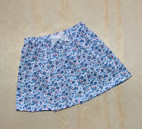 Simple Skirt - Blue & Red Floral