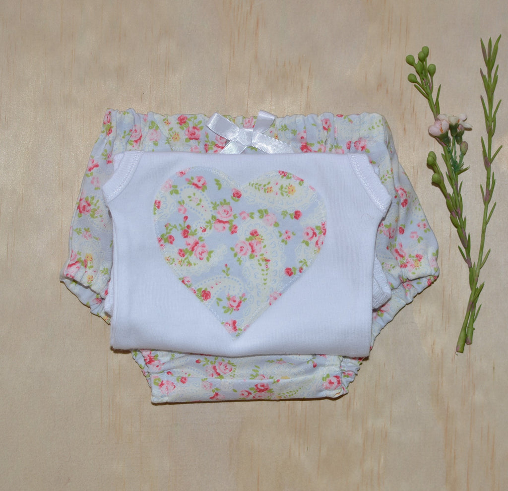 Bloomers & Singlet Set - Light blue Floral