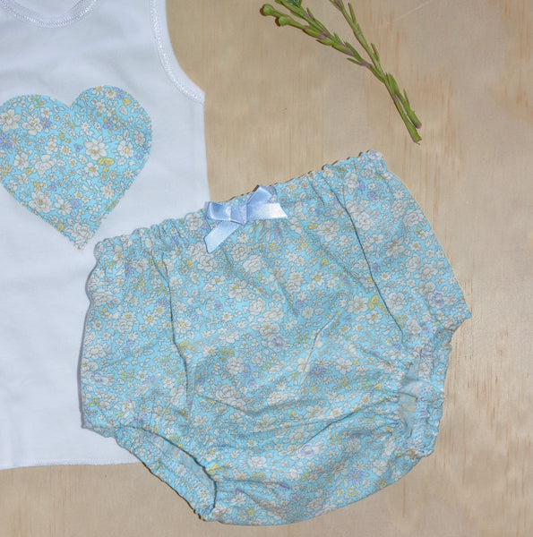 Bloomers & Singlet Set - Blue Floral
