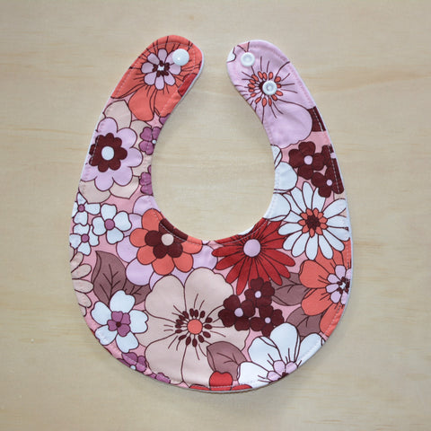 Bib - Retro Floral Red