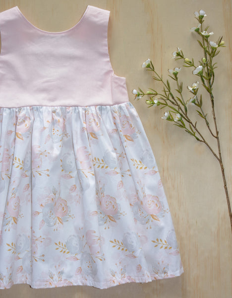 Tea Dress - Soft Pinks and Grey