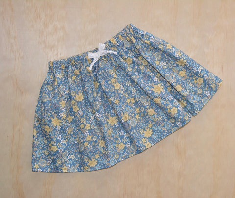 Simple Twirly Skirt - Blues & Mustard