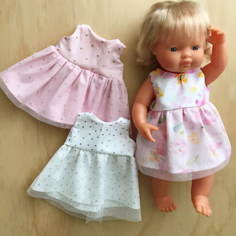 Miniland dolly clothing - Set of 3 mystery tulle dresses