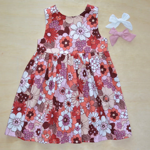 Tea Dress - Retro Red Floral