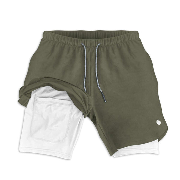 Men's Active Shorts (Compression Lined W/ Pocket) - Olive/Black