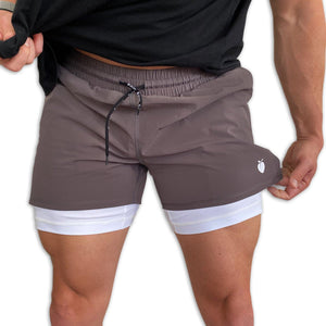 "Men's Gray Active Shorts 5"" (White Compression Lined)"