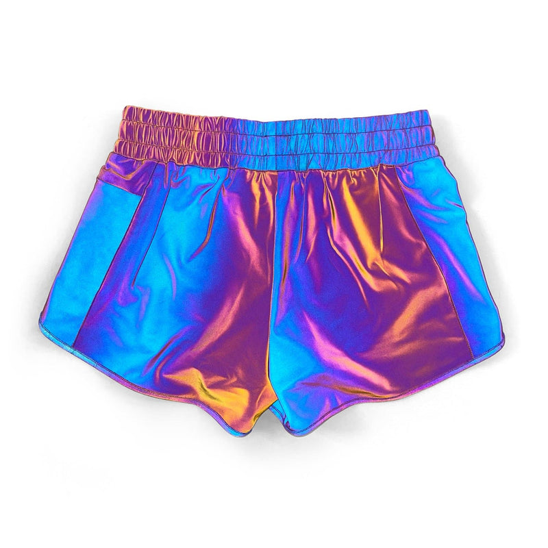 Women's Liner Track Shorts - Rainbow Reflective V2 (4-way stretch)