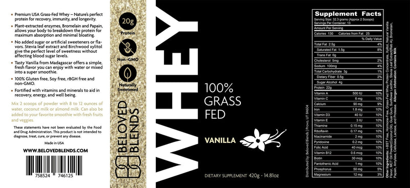 100% Grass-Fed Whey Protein - VANILLA