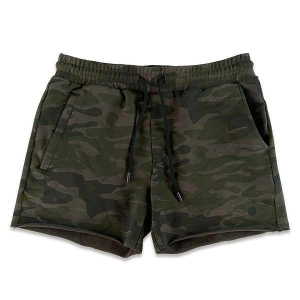Men's French Terry Bodybuilding Shorts - Dark Camo