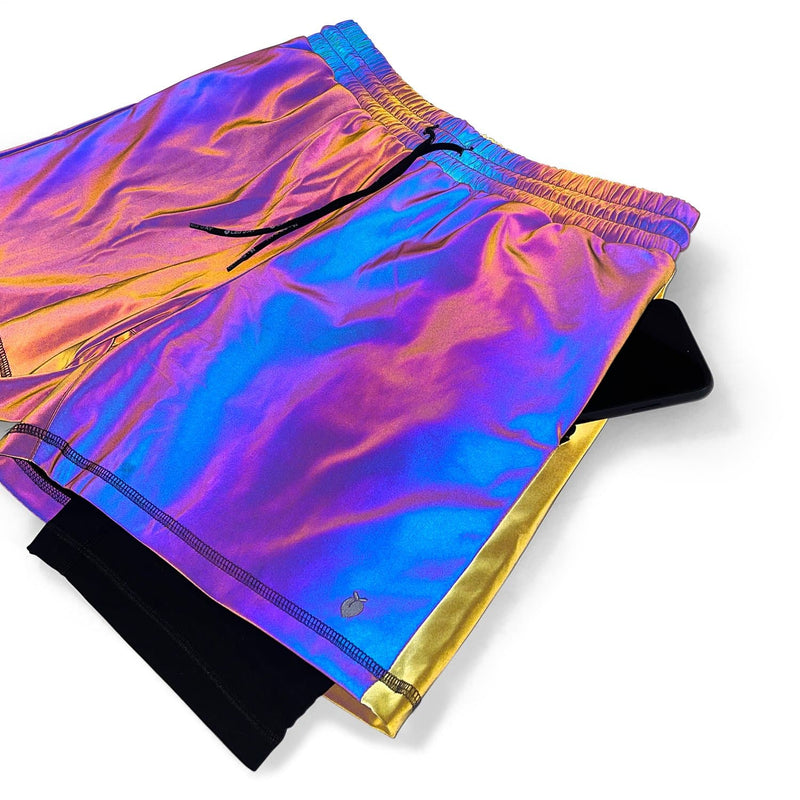 "Men's Active Liner Shorts 5"" - Rainbow Reflective V2 (4-way stretch)"