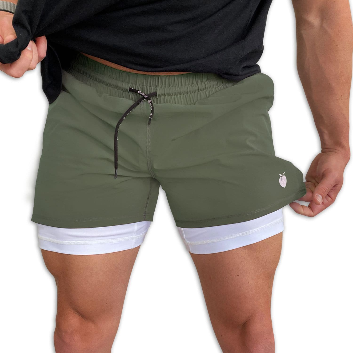 "Men's Olive Active Shorts 5"" (Compression Lined) with model"