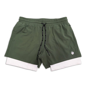 "Men's Olive Active Shorts 5"" (Compression Lined) front"