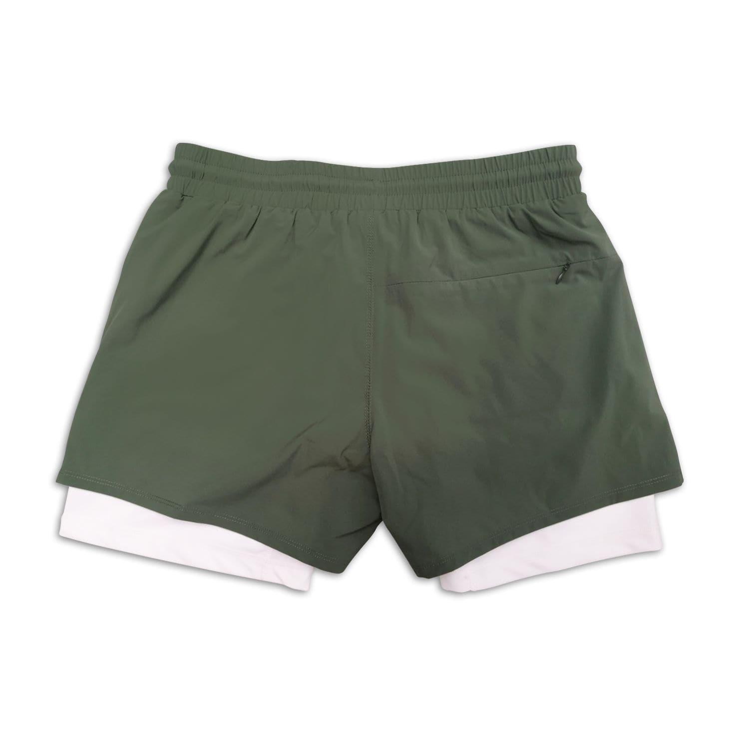 "Men's Olive Active Shorts 5"" (Compression Lined) back"