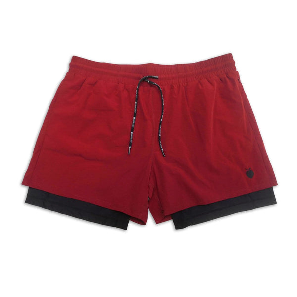 "Men's Wine Active Shorts 5"" (Compression Lined) front"