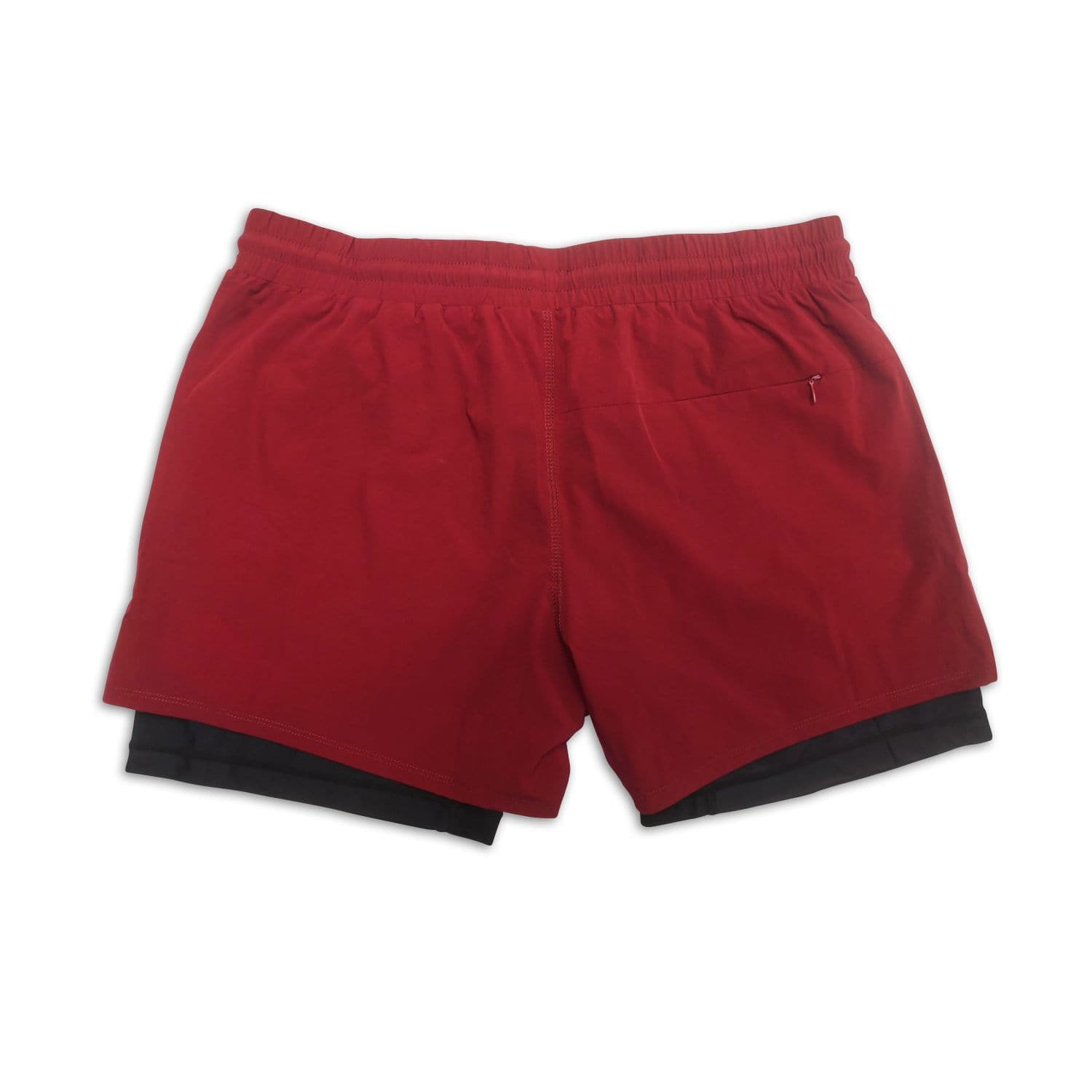 "Men's Wine Active Shorts 5"" (Compression Lined) back"
