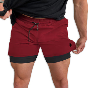 "Men's Wine Active Shorts 5"" (Compression Lined) with model"