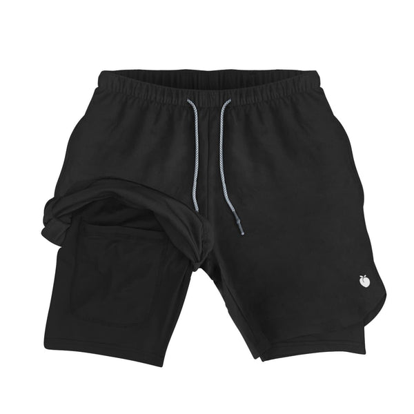 Men's Active Shorts (Compression Lined W/ Pocket) - Black/Black