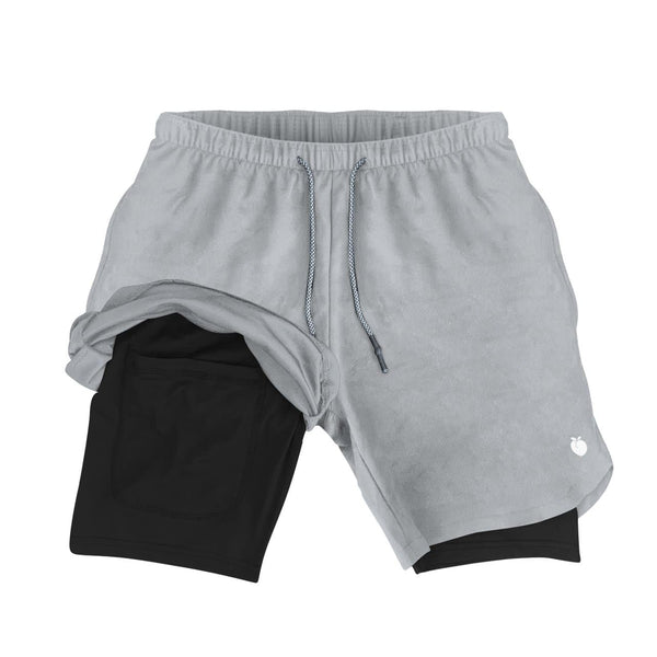 Men's Active Shorts (Compression Lined W/ Pocket) - Steel/Black