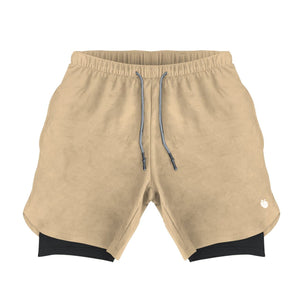 Men's Active Shorts (Compression Lined W/ Pocket) - Sand/Black