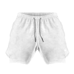 Men's Active Shorts 2.0 (Compression Lined W/ Pocket) - White/White