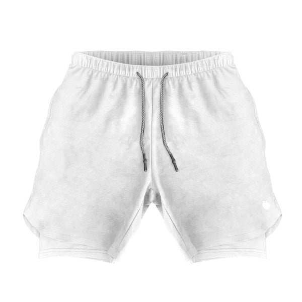 Men's Active Shorts (Compression Lined W/ Pocket) - White/White