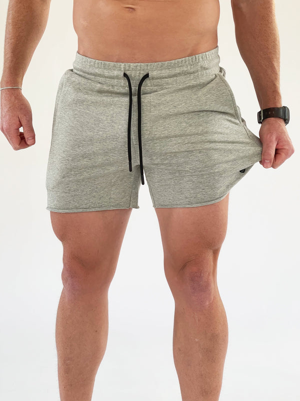 Men's French Terry Bodybuilding Shorts - Heather Gray