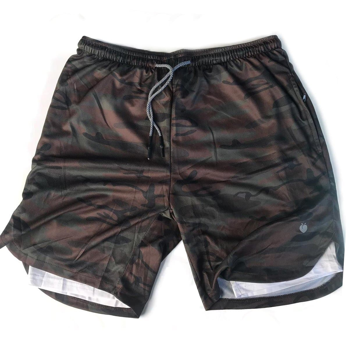 Men's Active Shorts 2.0 (Compression Lined W/ Pocket) - BlackCamo/White
