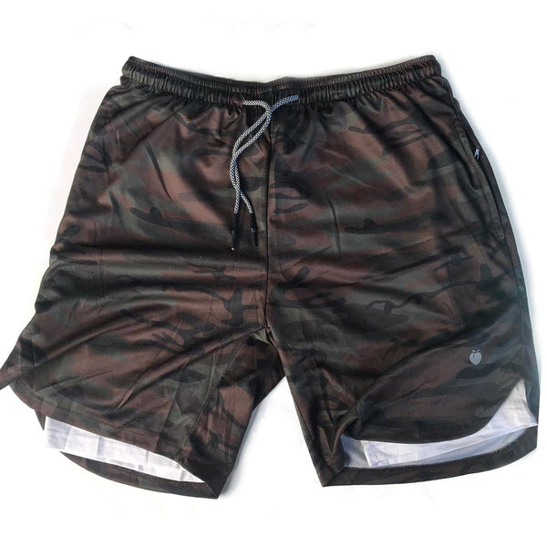 Men's Active Shorts (Compression Lined W/ Pocket) - BlackCamo/White