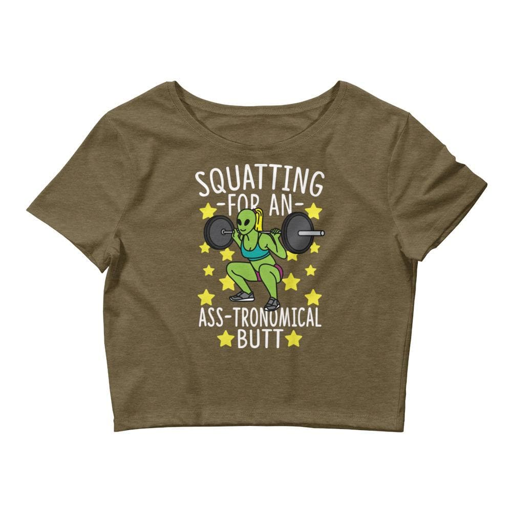 Squatting For An Ass-tronomical Butt Crop Tee