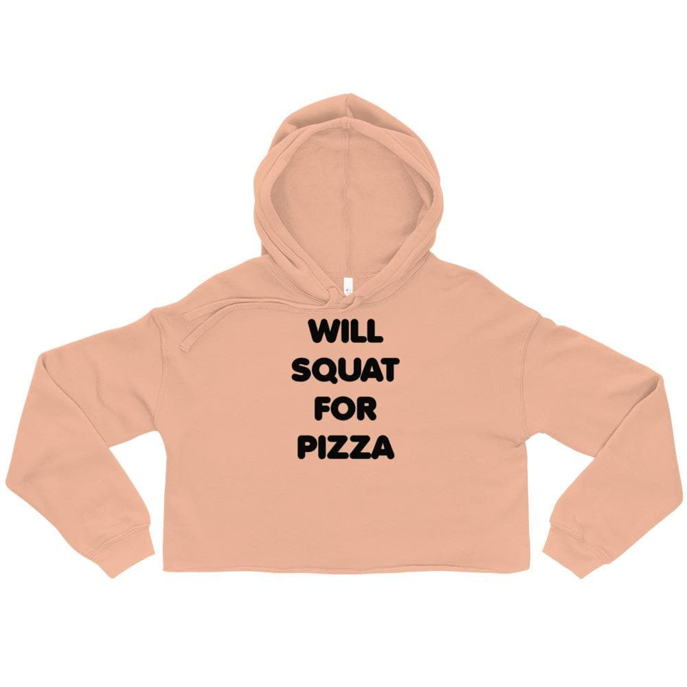 Will Squat For Pizza Crop Hoodie